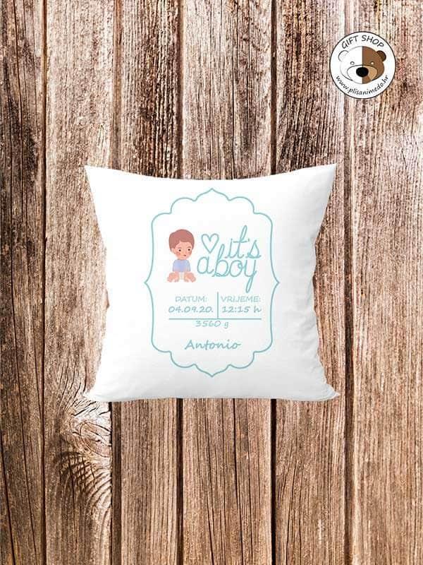 its-a-boy-personalizirani-jastuk-za-djecu-dodaj-ime-datum-težinu-plisanimedo.hr-poklon
