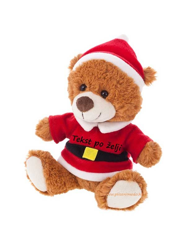 Božićni-plišani-medo-20cm-s-tekstom-po-želji