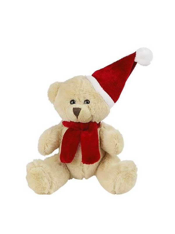 Plišani medo 12cm s božićnom kapicom – svijetlo smeđi