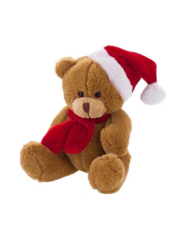 Plišani medo 12cm s božićnom kapicom – tamno smeđi