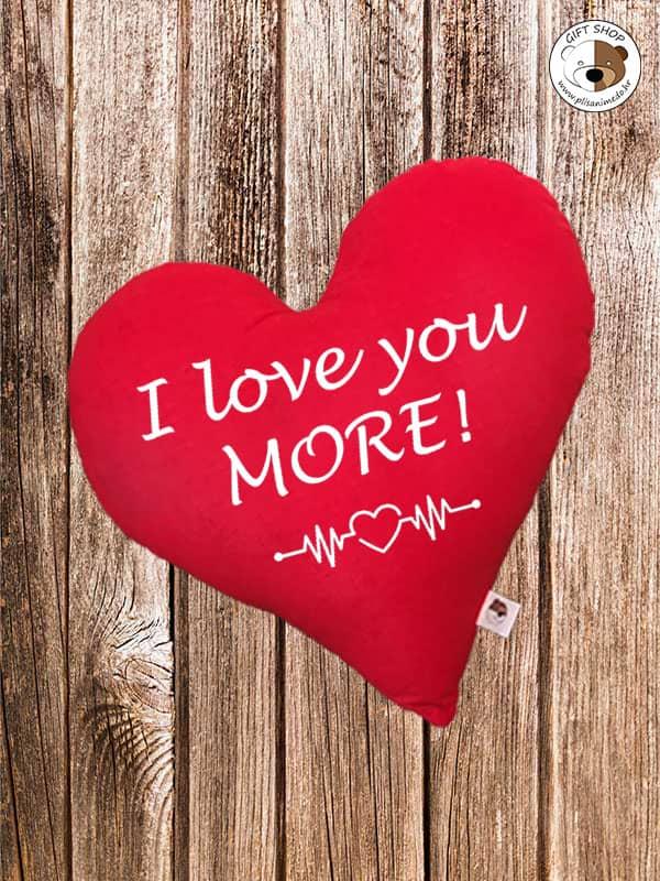 Jastuk crveno srce –  I LOVE YOU MORE!