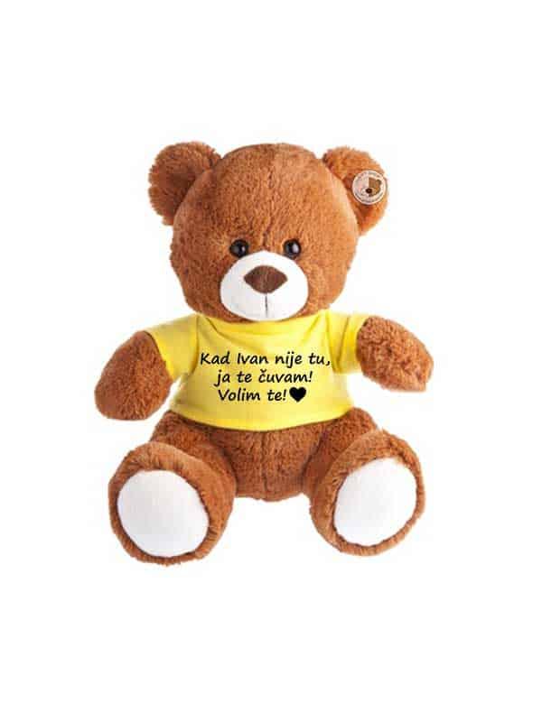 Plišani medo 27cm – smeđi sa žutom majicom
