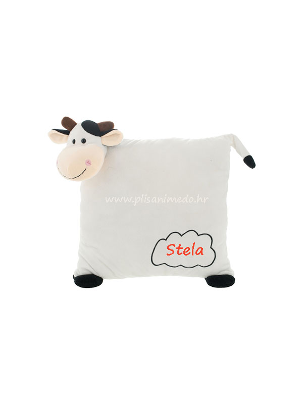 Jastuk – plišana kravica 30cm – ime po želji